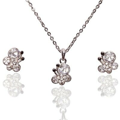 18K Gold Plated Austrian Crystal Butterfly Earrings Necklace Jewelry Set F275