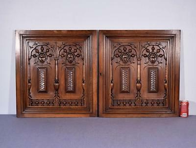 "Pair of 26"" Tall French Antique Carved Panels in Walnut Wood with Nautical Theme"