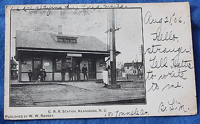 Postmarked 1906 CRR Railroad Station, Keansburg NJ Postcard, Monmouth County
