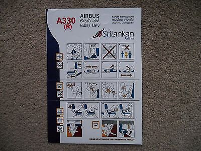 Sri Lankan Airlines Airbus A330 (R) Airline Safety Card