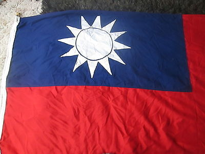 Vintage Panel Stitched Republic Of China Flag - Approx 7.5 Ft X 3.5 Ft