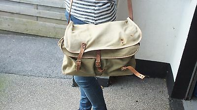"""Vintage Canvas & Leather trout fishing bag 13"""" x 10"""" with waterproof liner"""