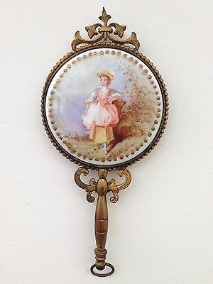 Antique French Ormolu Chatelaine Enamel Signed Portrait Mirror