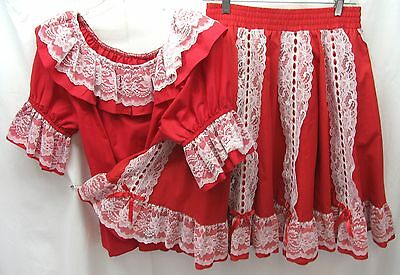 Bright Red with Wide White Lace Square Dance Skirt & Blouse Medium (112)