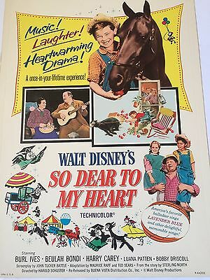 Walt Disney SO DEAR TO MY HEART Release Buena Vista Poster Numbered R- 64/252