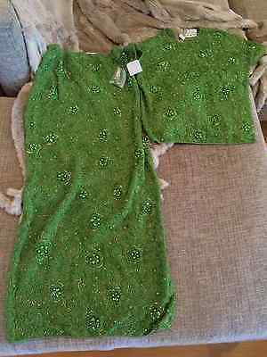 Bullock's Wilshire Vintage Green Long Cocktail Ball Gown Womens Top Skirt S $795