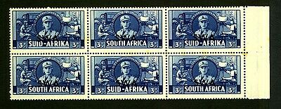 South Africa 1941/46 War Effort Issue SWA Over Print 3d Blue Block of 6 .
