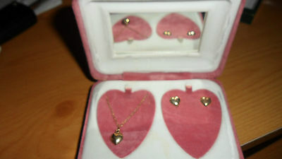 9ct gold heart necklace and earrings set  - suit young person