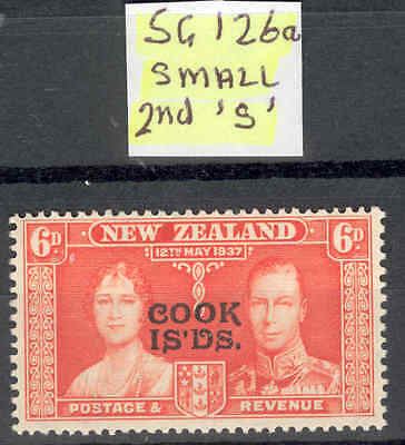 "COOK IS.1937 Coronation 6d with small second ""S"" Variety.Never-Hinged"