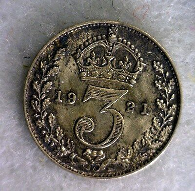 GREAT BRITAIN 3 PENCE 1921 UNCIRCULATED SILVER COIN (stock# 0280 )