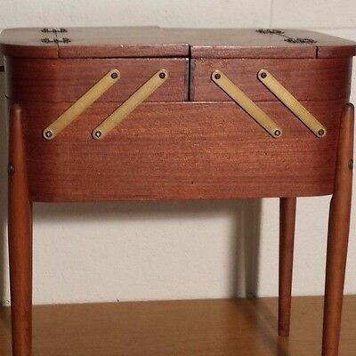 Quality Teak Sewing Box. Mid Century. Fabulous for a Sewing Bee!