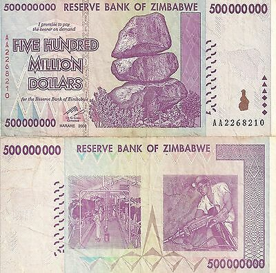 Zimbabwe 500 Million Dollars 2008 AA/ AB  Circulated, 50 &100 Trillion Series