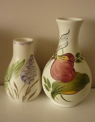 """2 charming vintage H.Wood and Sons handpainted """"Ladyslipper"""" Ceramic vases."""