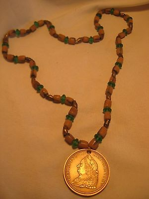 George Ii Peace Medal, Dated 1757 On Venetian Trade Bead Necklace, Chi-00396