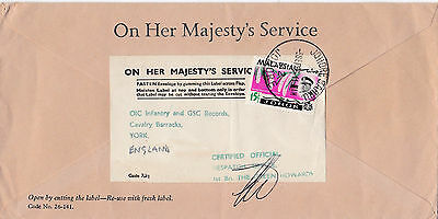 1966 British Forces In Malaysia Cover With A 1St Bn Green Howards Cachet 23*