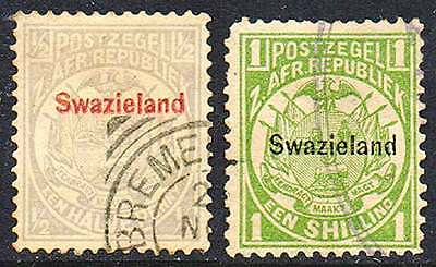 SWAZILAND 1889, Weapon ½p grey  + 1/- green   VF used