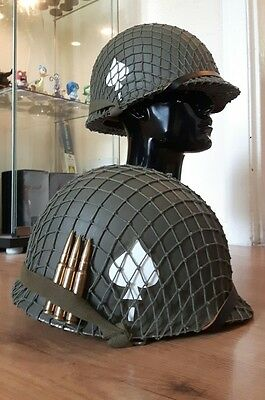 WW2 USA / American M1 helmet, net and double decal band of brothers 506 B.O.B WW