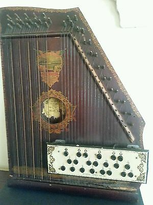 1915 Antique American Mandolin Harp Wood w all Strings and Buttons Panama Model