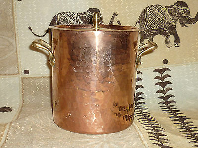 Lecellier Villedieu: Vintage French Copper Stew Pot Hammered Pan Brass Handle