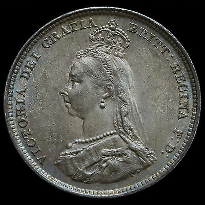 1887 Queen Victoria Jubilee Head Silver Shilling – Choice AU
