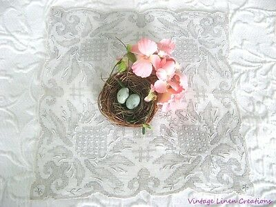AnTiQuE BRIDAL Heavily Encrusted MADEIRA EMBROIDERY * Vintage LACE WEDDING HANKY