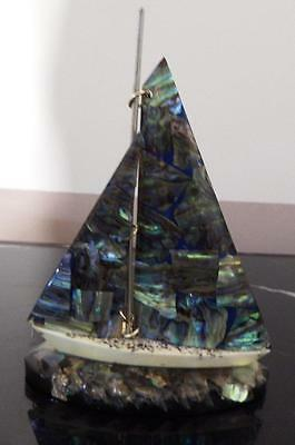 Vintage PAUA shell ornament-sailing boat hand crafted in Newzealand