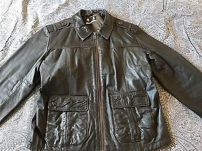Men's Austin Reed Brown Leather Jacket Size L