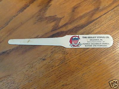 Antique Celluloid Letter Opener Keeley Stove Co. Columbia Pa Furnace Range Color