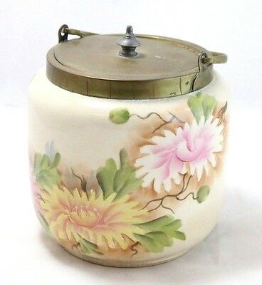 Antique Porcelain Floral Biscuit Jar