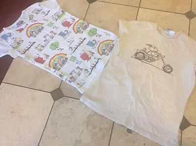 2 Vintage Looking T Shirts  XL lot Snoopy Motorcycle Rainbow Old Navy