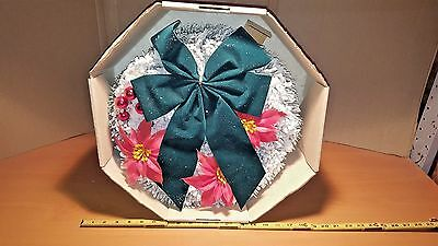 Vintage  Muskin Snow Covered Christmas Wreath With Huge Bow In Original Box