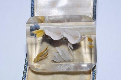 Lovely & Unusual Vintage Reverse Carved Lucite Swan Brooch