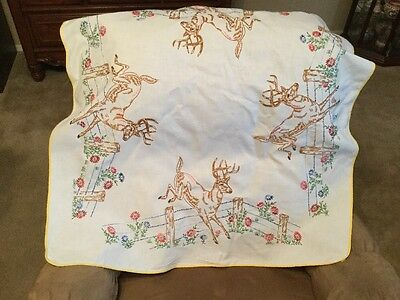 Vintage Tablecloth Hand Embroidered  35X35 Inches Deer Jumping Fence