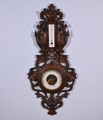 """*27"""" Tall Antique Black Forest Barometer Weather Station in Solid Walnut"""