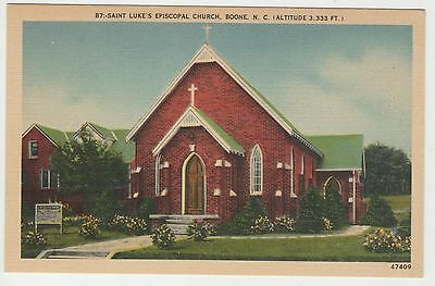 Vintage Linen St Lukes Episcopal Church Boone North Carolina Postcard FREE Ship