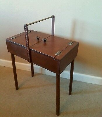 Vintage needle work / sewing  box - side table