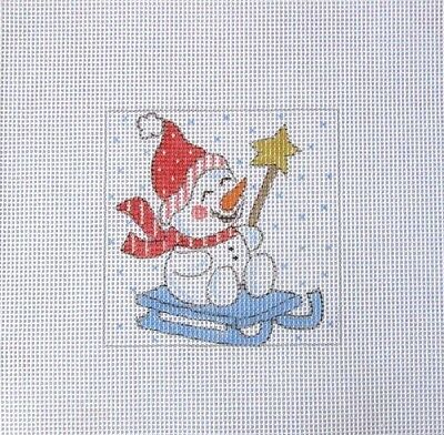 Adorable Giggling Snowman on Sled  Handpainted Needlepoint Canvas
