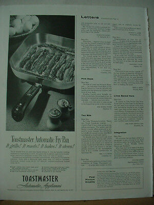 1957 Toastmaster Automatic Fry Pan Appliance Vintage Print Ad 10209