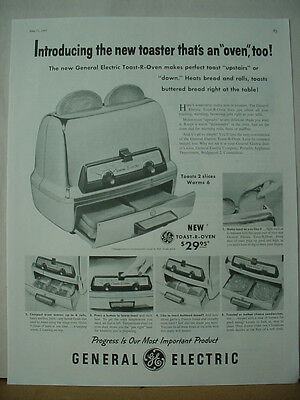 1957 GE General Electric Toaster Toast-R-Oven Appliance Vintage Print Ad 10216