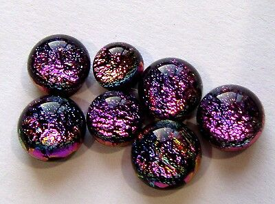 6 cabochons 6mm-8mm magenta blue Simple Process Dichroic Glass Cabs RELEI