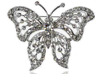 Magnificent Clear Crystal Rhinestone Flying Butterfly Costume Fashion Pin Brooch