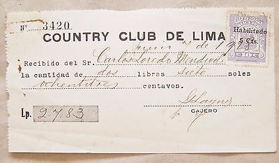 Peru 1928 Document with Revenue Bisected Country Club de Lima