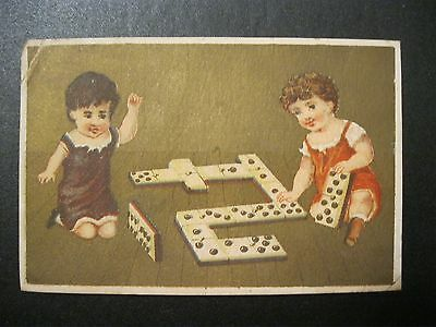 VTG Victorian Trade Card 1800's Children Playing Diminoes Game   129