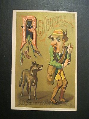 VTG Victorian Trade Card RARE Letter R Wolf Ridie Red Riding Soller Shoes   129