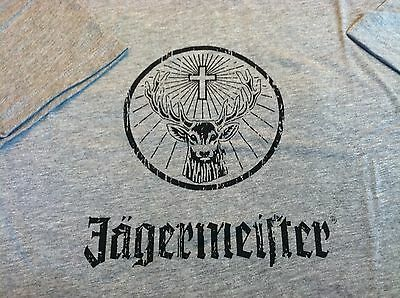 New Collectible Advertising Jagermeister Men's Gray & Black T-Shirt Sz  Large
