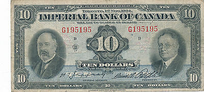 Imperial Bank of Canada 1934 $10