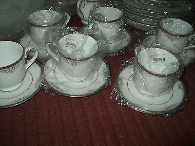 Noritake Ontario 3763 ---Footed Cups & Saucers Set of 6