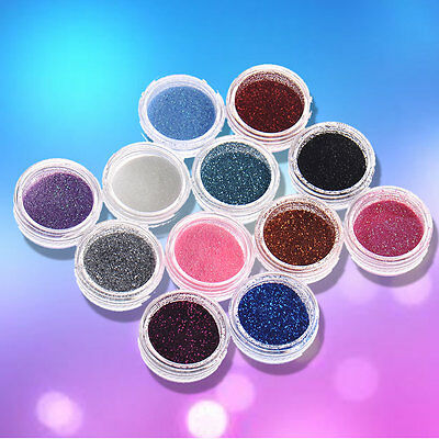 12 Colours Glitter Dust Powder Set DIY Nail Art Tips Decoration Crafts Tool Kit