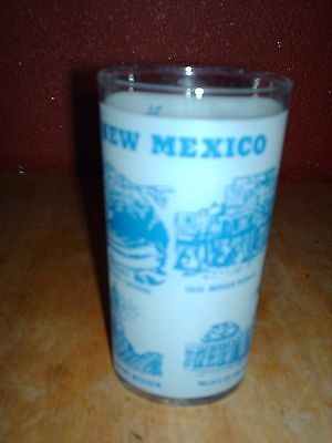 """Federal Glass Co. New Mexico Souvenir Glass /blue & White On Clear Glass 4 1/2"""""""