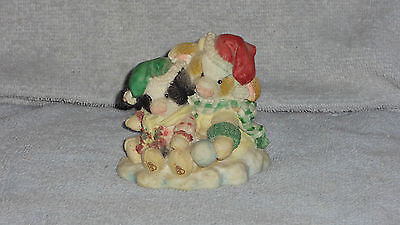 Enesco Mary's Moo Moos 1994 Merry Christmoos Christmas Cows in Snow Figurine